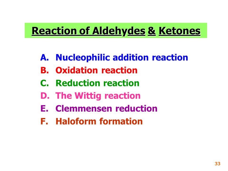 Reaction of Aldehydes & Ketones
