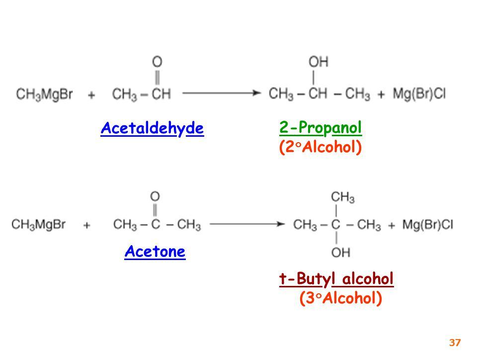 Acetaldehyde 2-Propanol (2๐Alcohol) Acetone t-Butyl alcohol