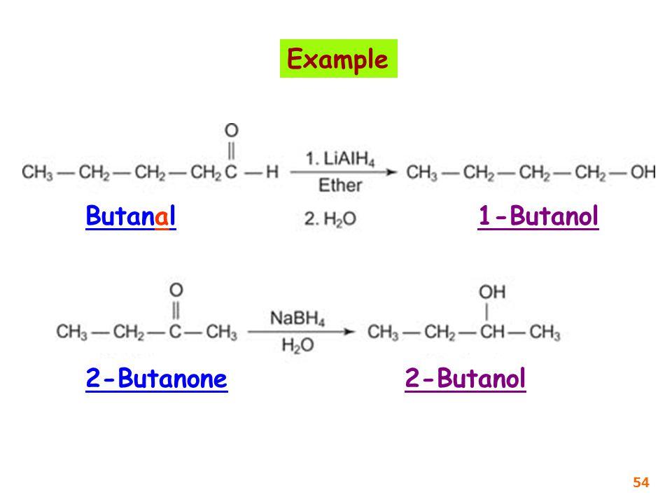 Example Butanal 1-Butanol 2-Butanone 2-Butanol 54