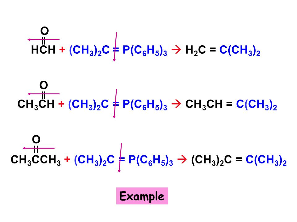 HCH + (CH3)2C = P(C6H5)3  H2C = C(CH3)2