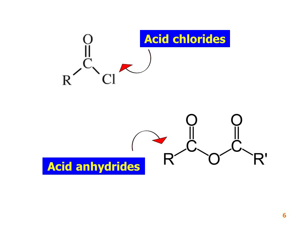Acid chlorides Acid anhydrides