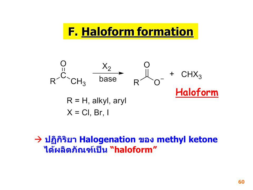 F. Haloform formation Haloform