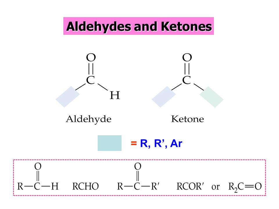 Aldehydes and Ketones = R, R', Ar