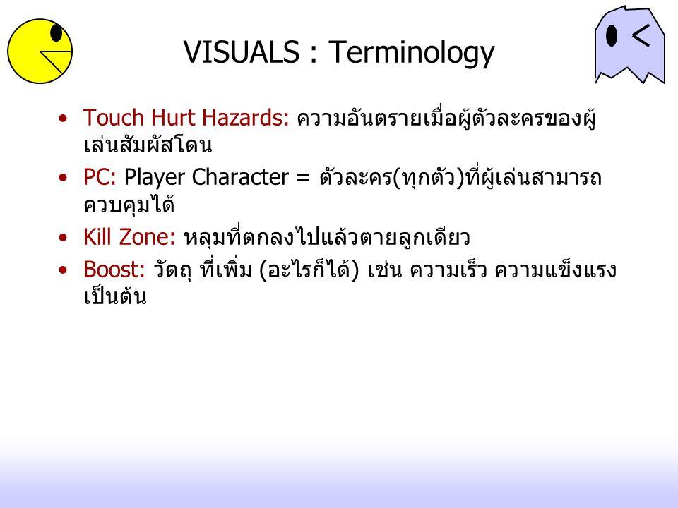 VISUALS : Terminology Touch Hurt Hazards: ความอันตรายเมื่อผู้ตัวละครของผู้เล่นสัมผัสโดน.