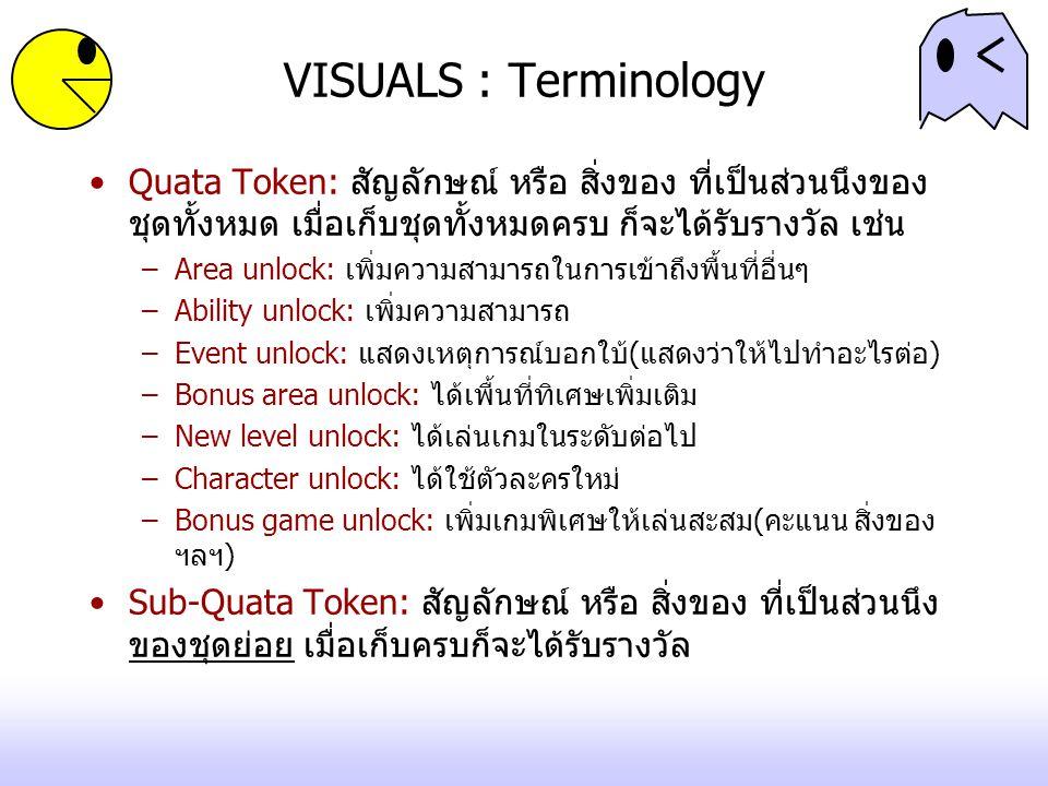 VISUALS : Terminology Quata Token: สัญลักษณ์ หรือ สิ่งของ ที่เป็นส่วนนึงของชุดทั้งหมด เมื่อเก็บชุดทั้งหมดครบ ก็จะได้รับรางวัล เช่น.