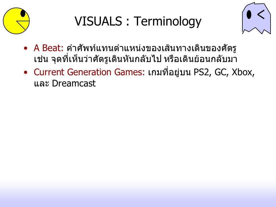 VISUALS : Terminology A Beat: คำศัพท์แทนตำแหน่งของเส้นทางเดินของศัตรู เช่น จุดที่เห็นว่าศัตรูเดินหันกลับไป หรือเดินย้อนกลับมา.