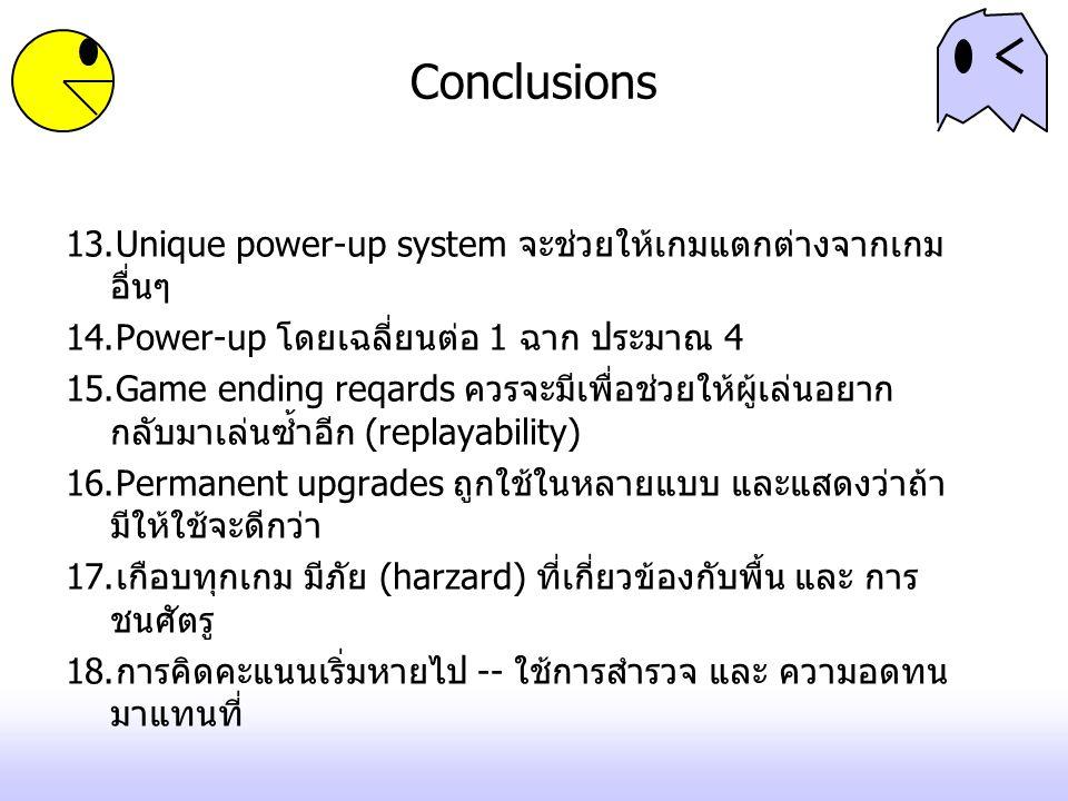 Conclusions Unique power-up system จะช่วยให้เกมแตกต่างจากเกมอื่นๆ