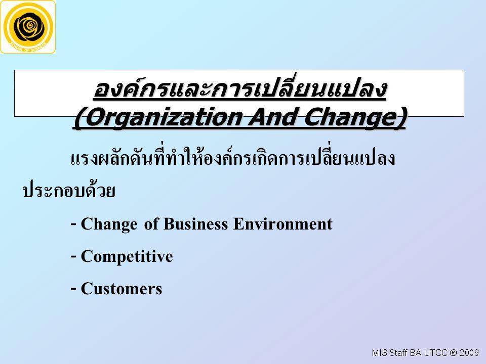 องค์กรและการเปลี่ยนแปลง (Organization And Change)