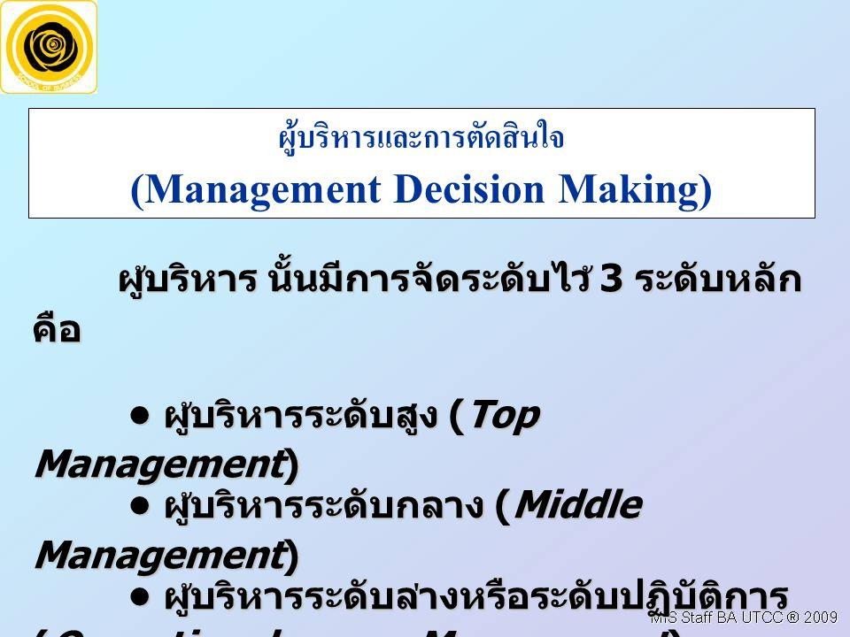 ผูบริหารและการตัดสินใจ (Management Decision Making)