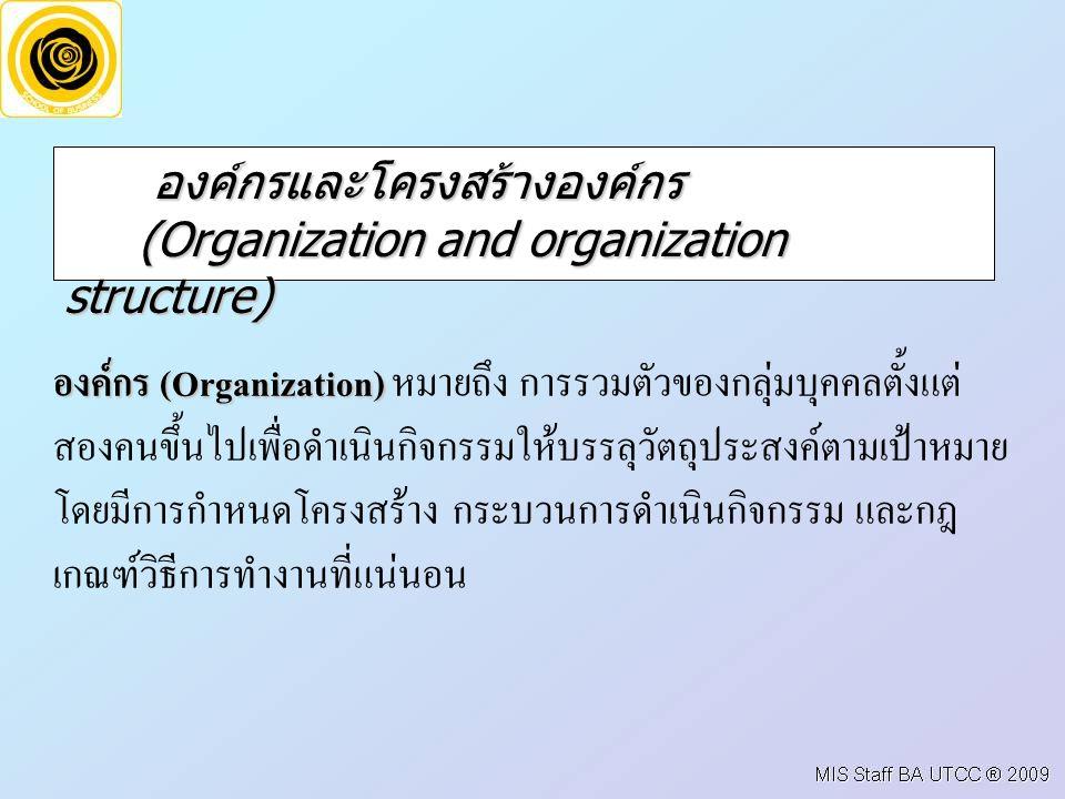 องค์กรและโครงสร้างองค์กร (Organization and organization structure)