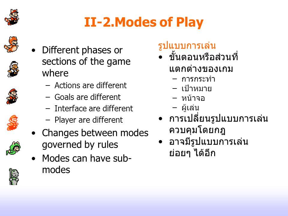 II-2.Modes of Play รูปแบบการเล่น