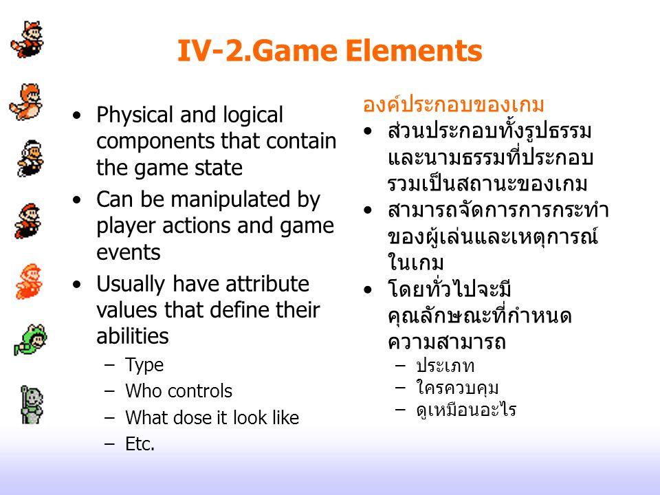 IV-2.Game Elements องค์ประกอบของเกม