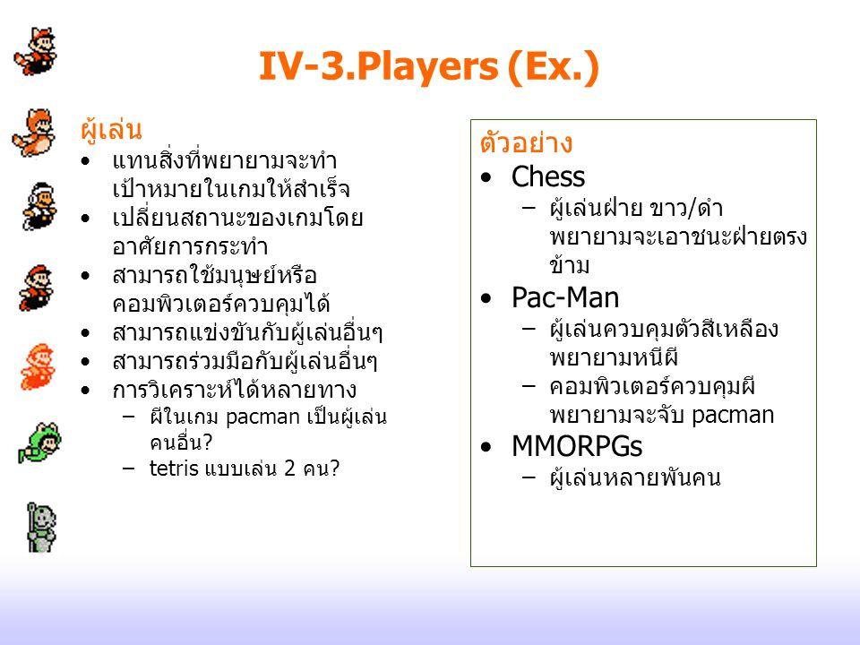 IV-3.Players (Ex.) ผู้เล่น ตัวอย่าง Chess Pac-Man MMORPGs