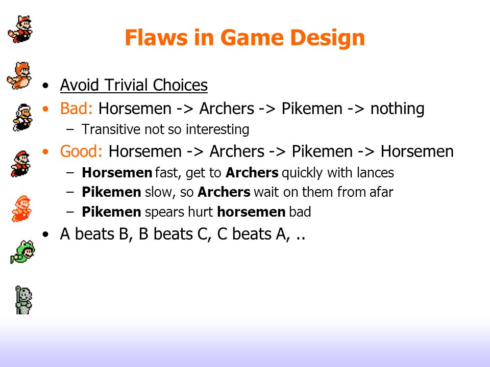 Flaws in Game Design Avoid Trivial Choices