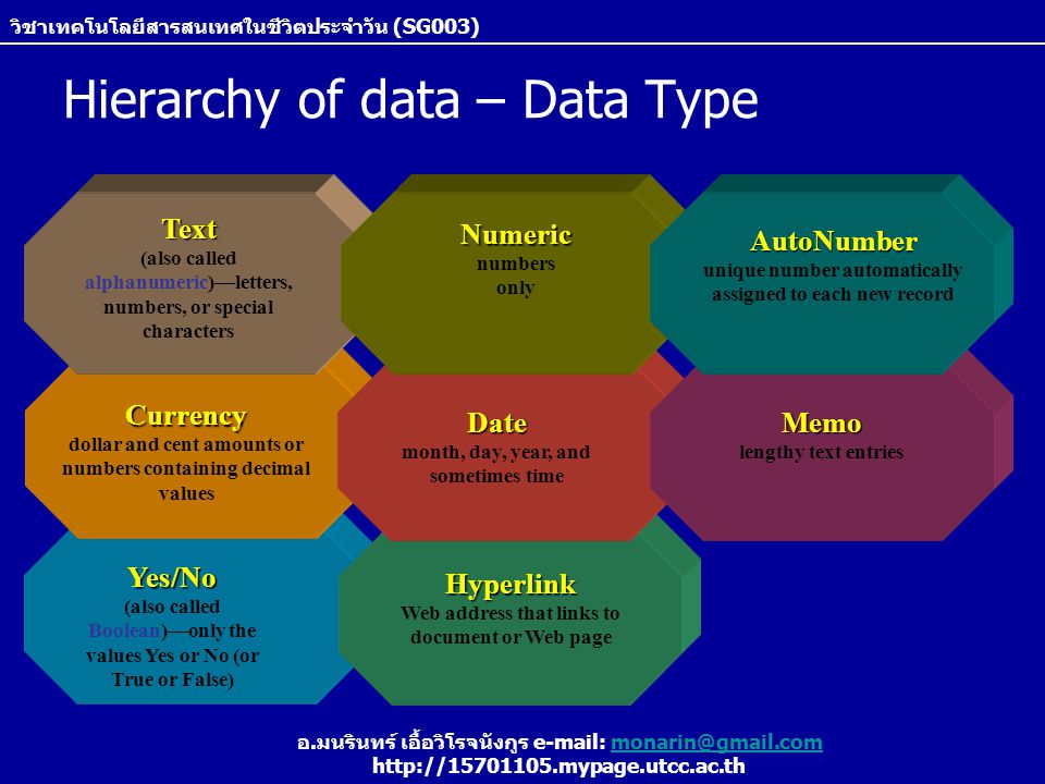 Hierarchy of data – Data Type