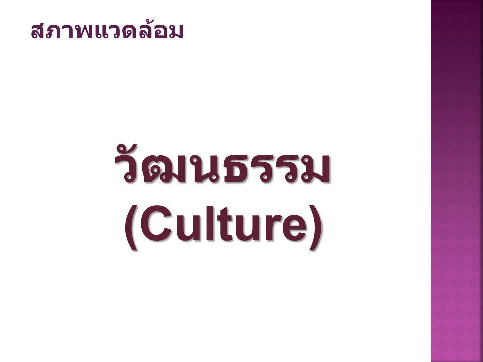 สภาพแวดล้อม วัฒนธรรม (Culture)