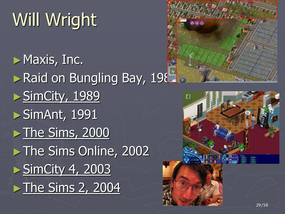 Will Wright Maxis, Inc. Raid on Bungling Bay, 1984 SimCity, 1989