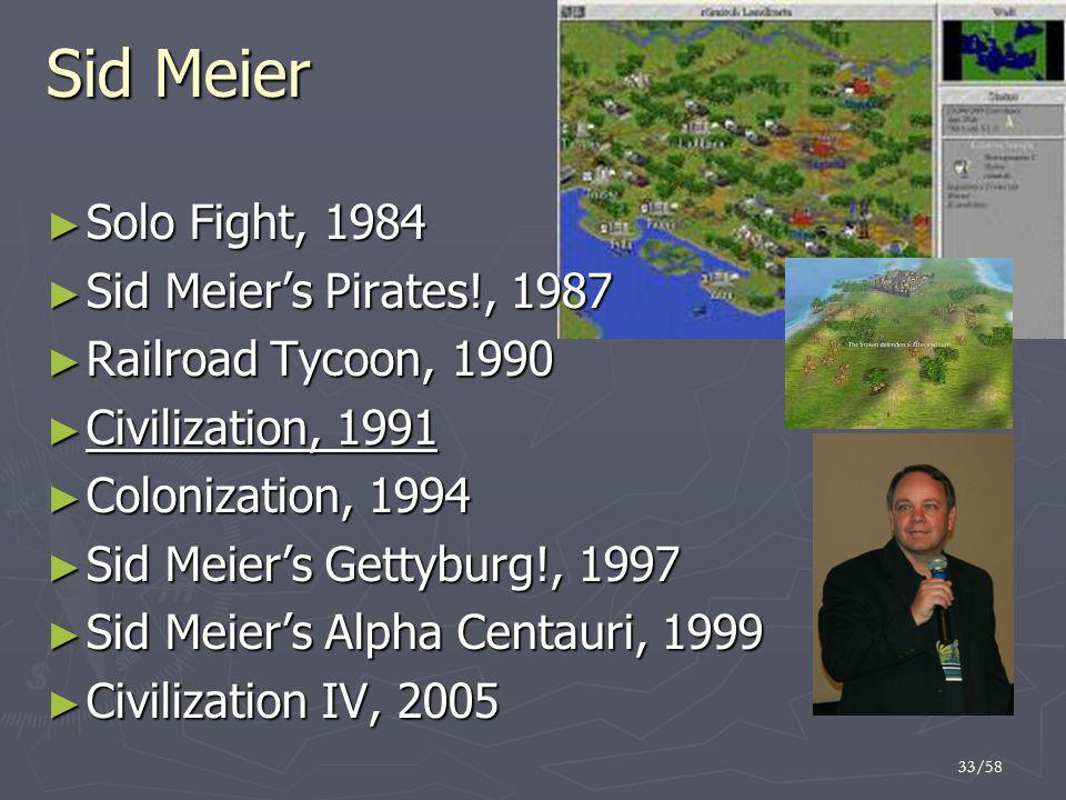Sid Meier Solo Fight, 1984 Sid Meier's Pirates!, 1987
