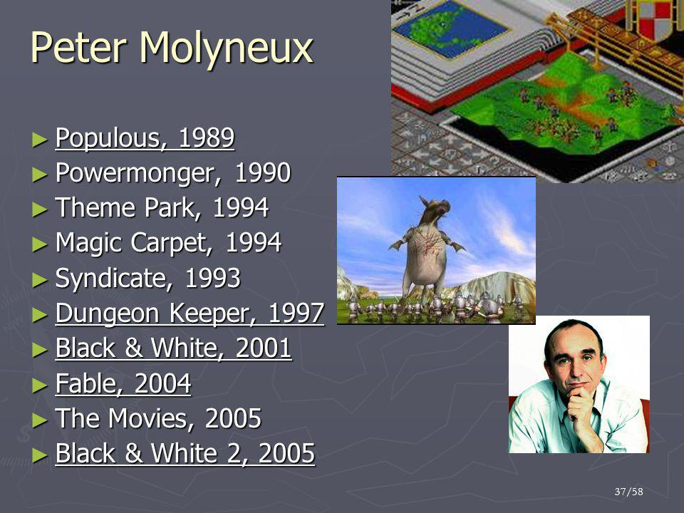 Peter Molyneux Populous, 1989 Powermonger, 1990 Theme Park, 1994
