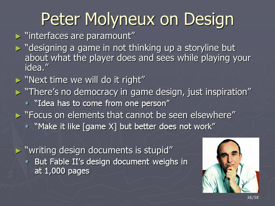 Peter Molyneux on Design