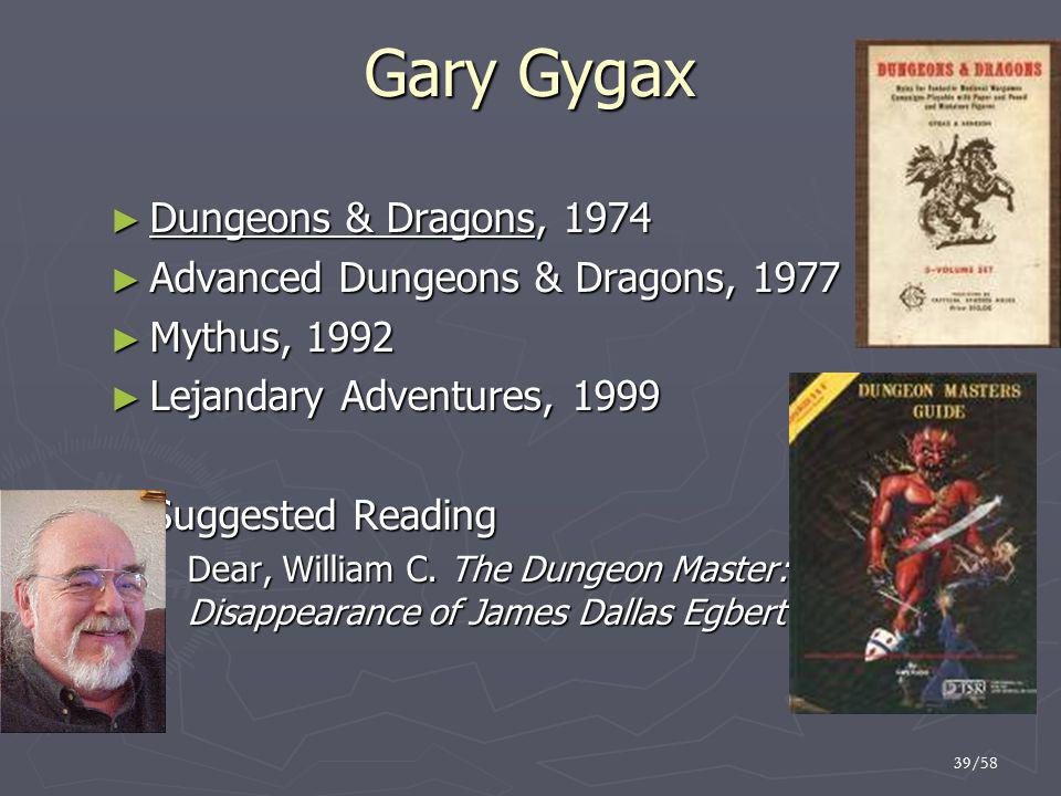 Gary Gygax Dungeons & Dragons, 1974 Advanced Dungeons & Dragons, 1977