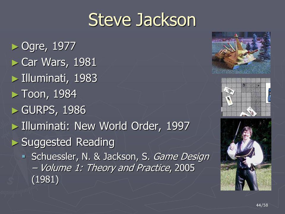 Steve Jackson Ogre, 1977 Car Wars, 1981 Illuminati, 1983 Toon, 1984