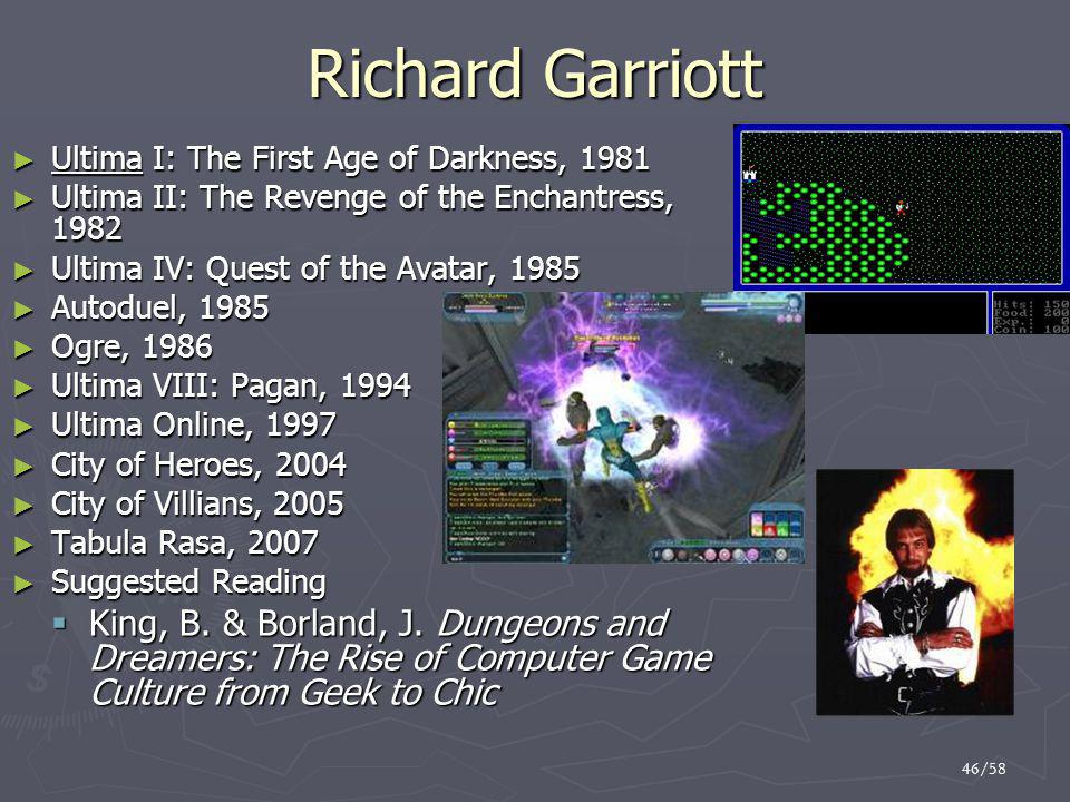 Richard Garriott Ultima I: The First Age of Darkness, 1981. Ultima II: The Revenge of the Enchantress, 1982.