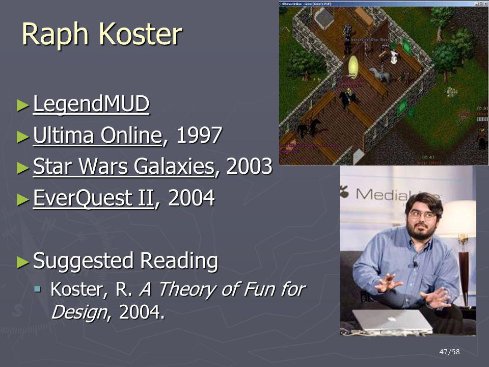 Raph Koster LegendMUD Ultima Online, 1997 Star Wars Galaxies, 2003