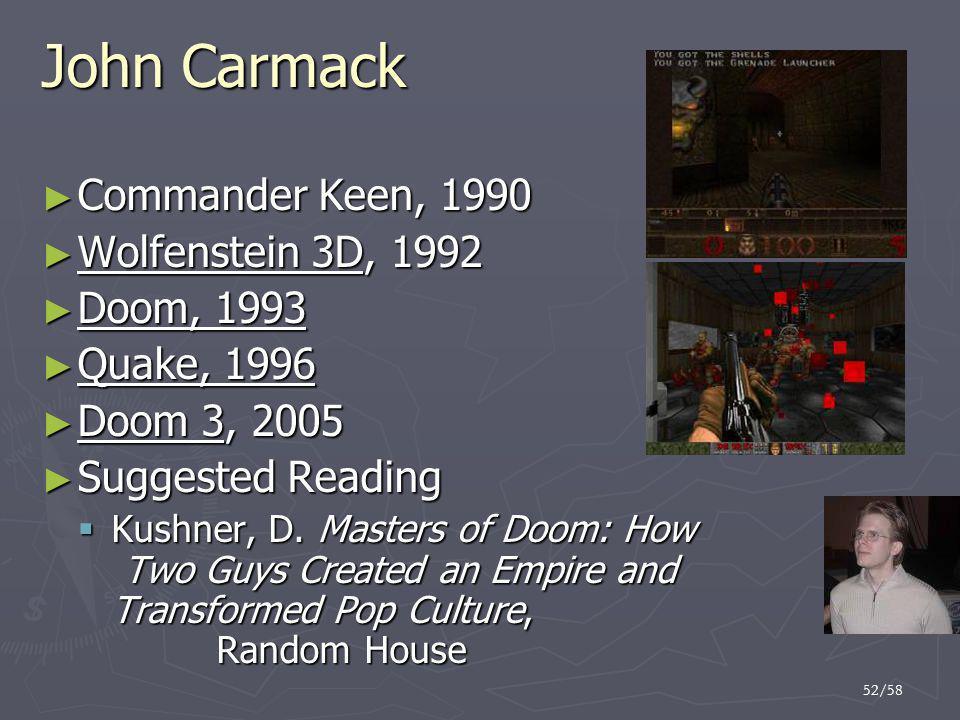 John Carmack Commander Keen, 1990 Wolfenstein 3D, 1992 Doom, 1993