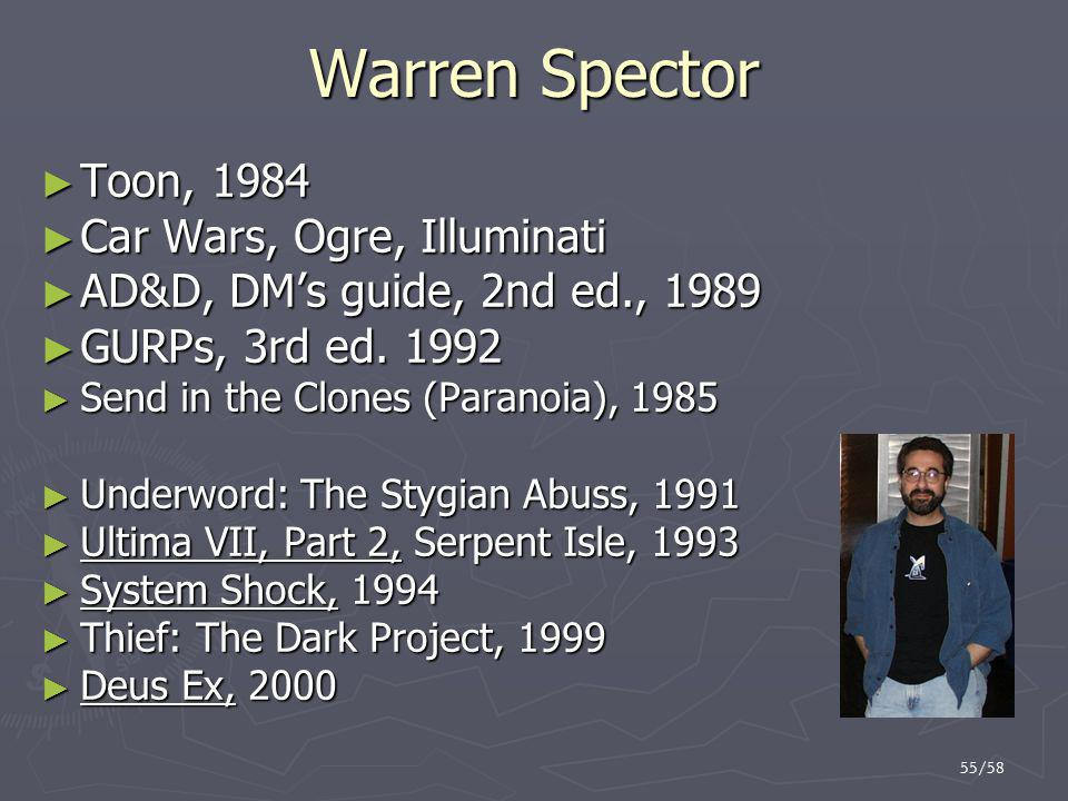 Warren Spector Toon, 1984 Car Wars, Ogre, Illuminati