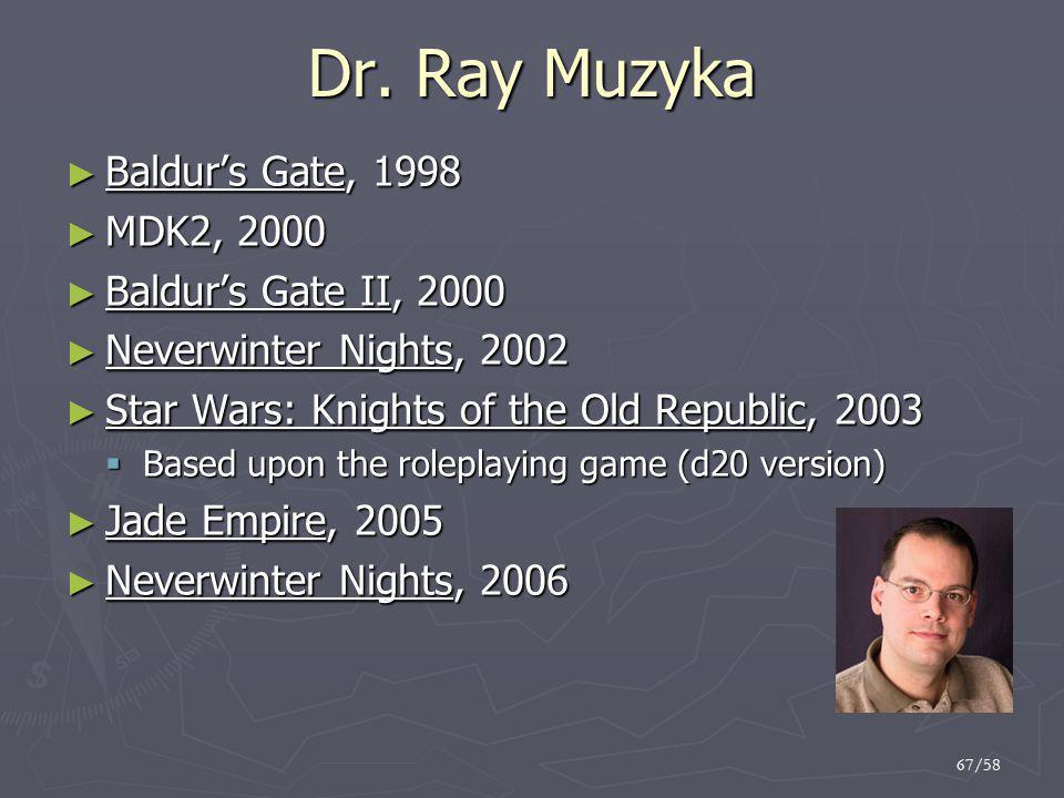 Dr. Ray Muzyka Baldur's Gate, 1998 MDK2, 2000 Baldur's Gate II, 2000