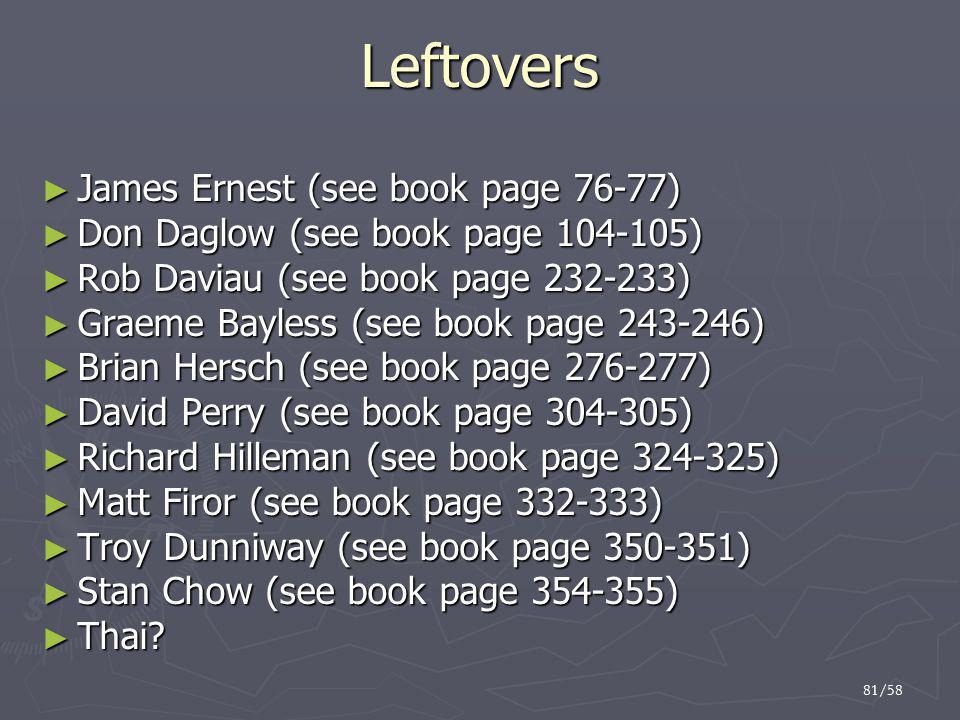 Leftovers James Ernest (see book page 76-77)