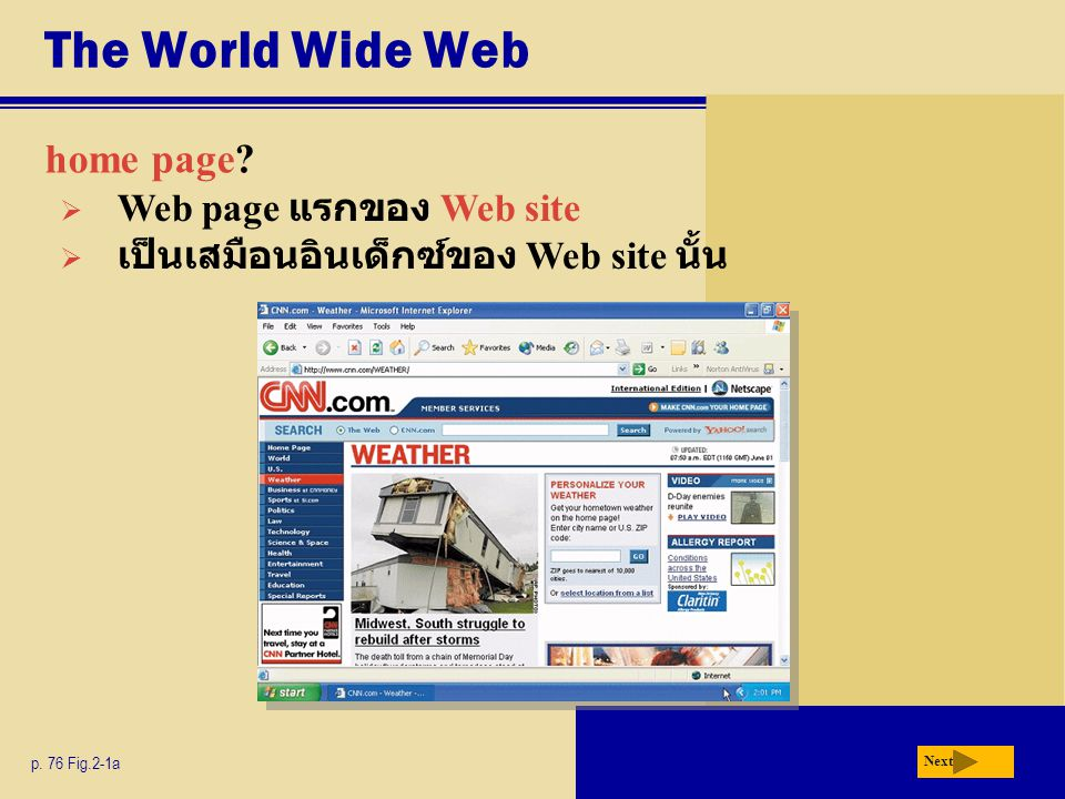 The World Wide Web home page Web page แรกของ Web site