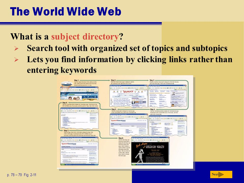 The World Wide Web What is a subject directory