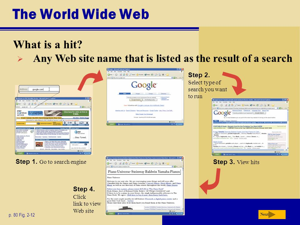 The World Wide Web What is a hit