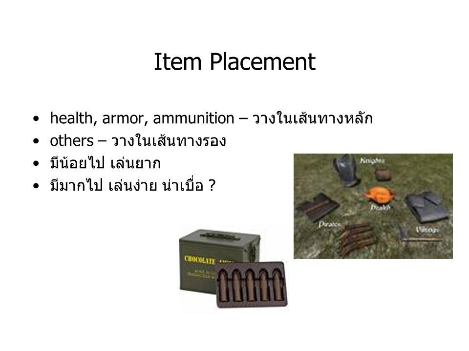 Item Placement health, armor, ammunition – วางในเส้นทางหลัก