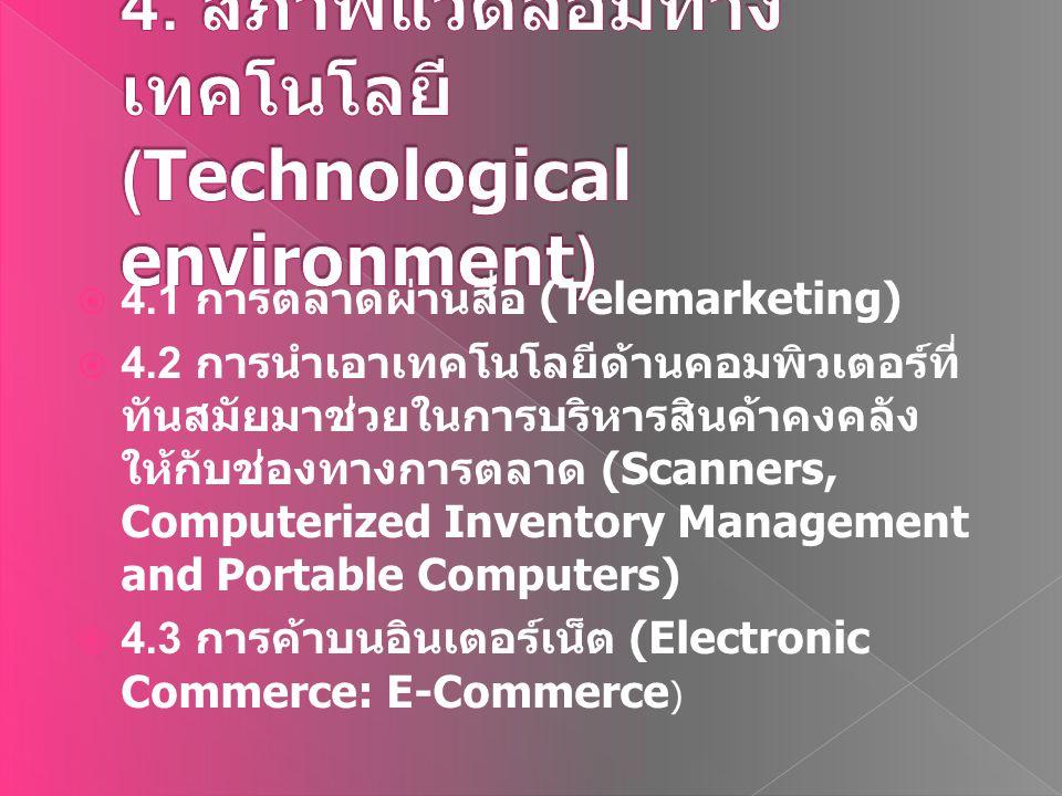4. สภาพแวดล้อมทางเทคโนโลยี (Technological environment)