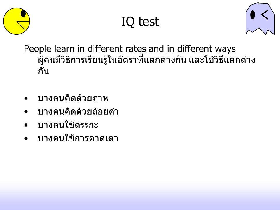 IQ test People learn in different rates and in different ways ผู้คนมีวิธีการเรียนรู้ในอัตราที่แตกต่างกัน และใช้วิธีแตกต่างกัน.