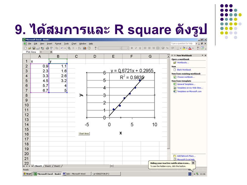 9. ได้สมการและ R square ดังรูป