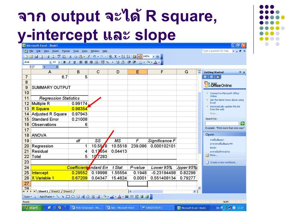 จาก output จะได้ R square, y-intercept และ slope
