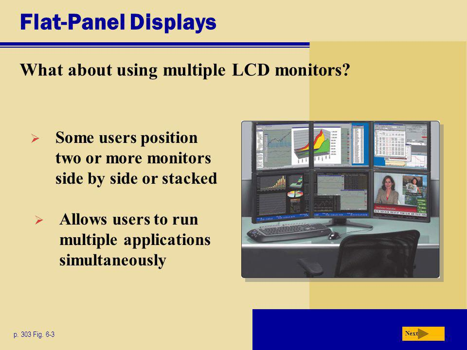 Flat-Panel Displays What about using multiple LCD monitors