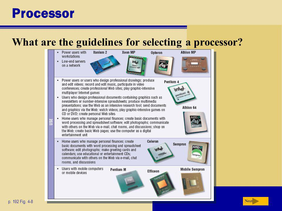 Processor What are the guidelines for selecting a processor