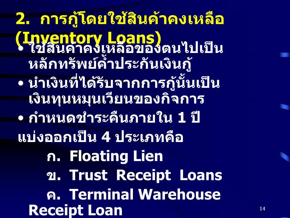 2. การกู้โดยใช้สินค้าคงเหลือ (Inventory Loans)