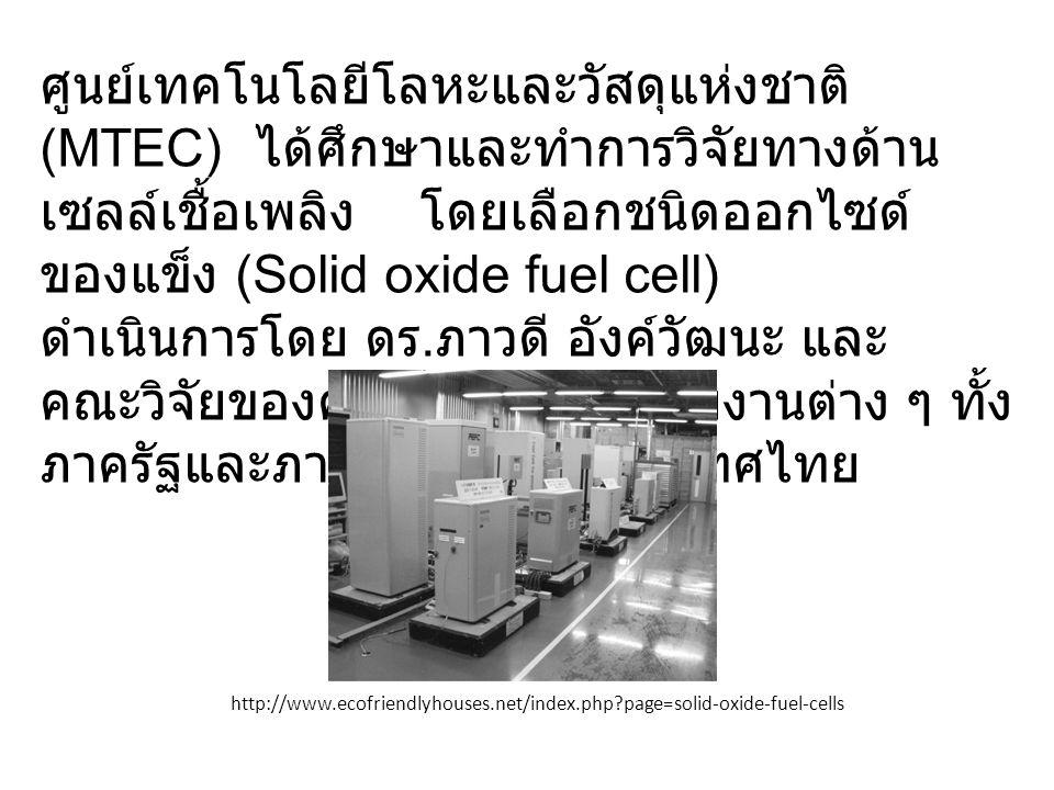 ศูนย์เทคโนโลยีโลหะและวัสดุแห่งชาติ (MTEC) ได้ศึกษาและทำการวิจัยทางด้านเซลล์เชื้อเพลิง โดยเลือกชนิดออกไซด์ของแข็ง (Solid oxide fuel cell) ดำเนินการโดย ดร.ภาวดี อังค์วัฒนะ และคณะวิจัยของศูนย์ฯ ร่วมกับหน่วยงานต่าง ๆ ทั้งภาครัฐและภาคเอกชนของประเทศไทย