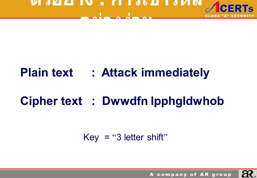 ตัวอย่าง : การเข้ารหัสอย่างง่าย