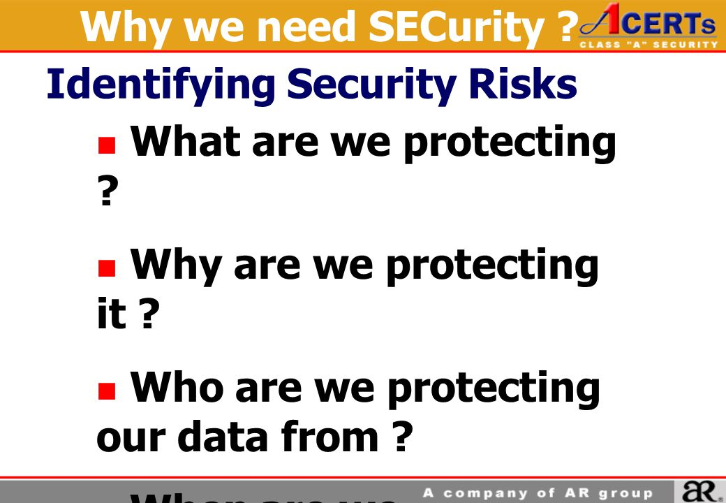 Why we need SECurity Identifying Security Risks. What are we protecting Why are we protecting it