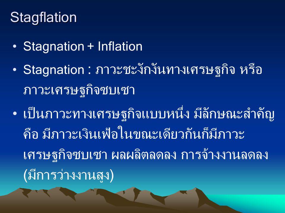 Stagflation Stagnation + Inflation. Stagnation : ภาวะชะงักงันทางเศรษฐกิจ หรือภาวะเศรษฐกิจซบเซา.