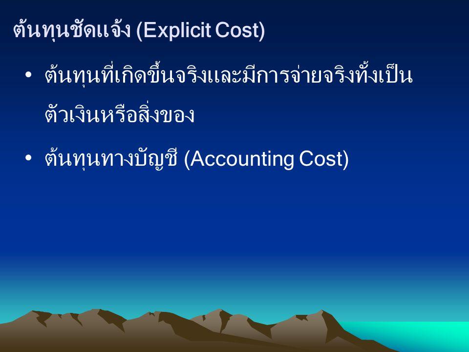ต้นทุนชัดแจ้ง (Explicit Cost)