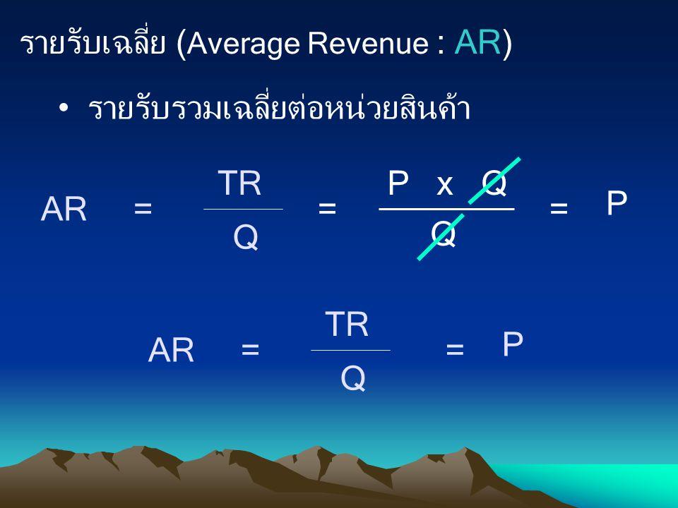 รายรับเฉลี่ย (Average Revenue : AR)