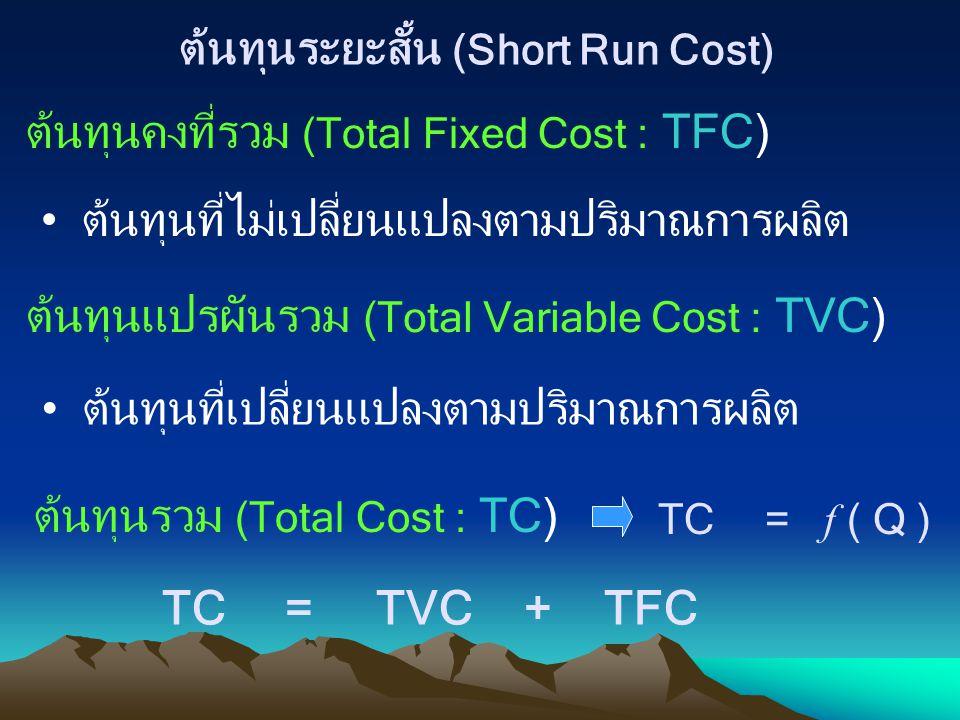 ต้นทุนระยะสั้น (Short Run Cost)